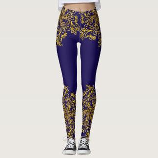 Elegant golden mandala dark blue leggings