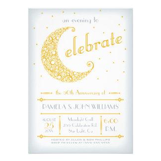 Elegant Golden Moon Celebration Custom Invitations