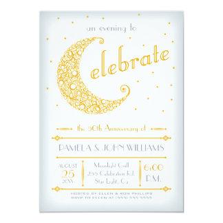 "Elegant Golden Moon Celebration 5"" X 7"" Invitation Card"