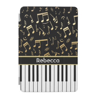 Elegant golden music notes piano keys iPad mini cover