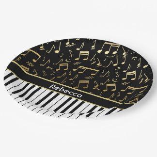 Elegant golden music notes piano keys paper plate