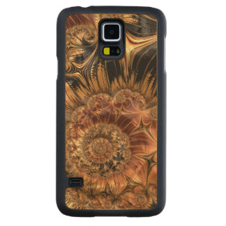 Elegant Golden Orange Cream Liquid Silk Fractal Carved Maple Galaxy S5 Case