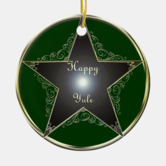 Elegant Golden Pentagram Tree Ornament circle