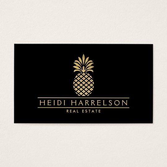 Elegant Golden Pineapple Logo on Black Business Card