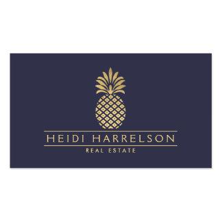 Elegant Golden Pineapple Logo on Dusky Blue Pack Of Standard Business Cards
