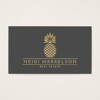 Elegant Golden Pineapple Logo on Gray Business Card