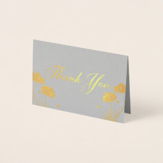 Elegant Golden Poppies Thank You Foil Card