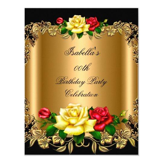 Elegant Golden Red Yellow Roses Birthday Party 2b