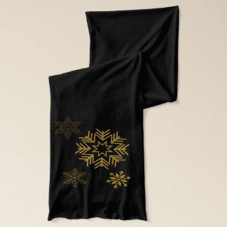 Elegant Golden Snowflakes Scarf
