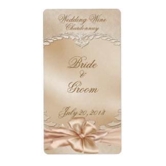 Elegant Golden Swans Wedding Wine Label Shipping Label