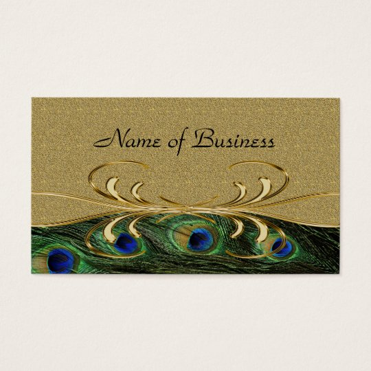 Elegant Golden Swirl Peacock Feathers Double-Sided Business Card