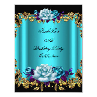 Elegant Golden Teal Blue Purple Roses Birthday 11 Cm X 14 Cm Invitation Card