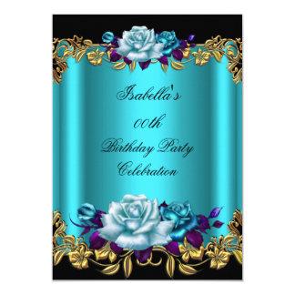 Elegant Golden Teal Blue Purple Roses Birthday 13 Cm X 18 Cm Invitation Card