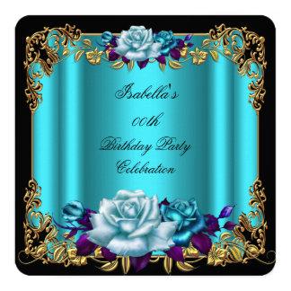 Elegant Golden Teal Blue Purple Roses Birthday 2 5.25x5.25 Square Paper Invitation Card