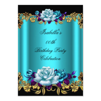 Elegant Golden Teal Blue Purple Roses Birthday 5x7 Paper Invitation Card