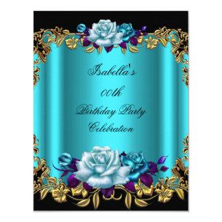 Elegant Golden Teal Blue Purple Roses Birthday 4.25x5.5 Paper Invitation Card