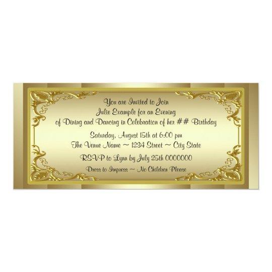 Elegant Golden Ticket Birthday Party Card