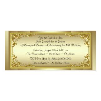"Elegant Golden Ticket Birthday Party 4"" X 9.25"" Invitation Card"