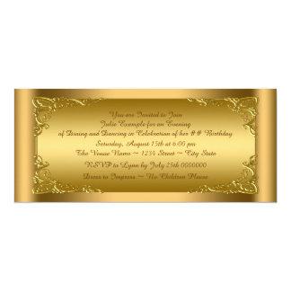 "Elegant Golden Ticket Party 4"" X 9.25"" Invitation Card"
