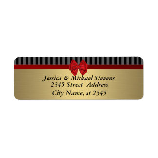 Elegant golden trendy red bow return address label