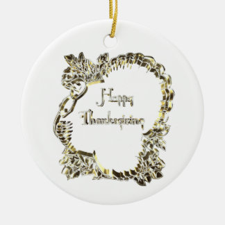Elegant Golden Turkey Happy Thanksgiving Text Christmas Ornament
