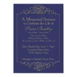 Elegant Golden Vintage Frame -2- Memorial Service 11 Cm X 16 Cm Invitation Card