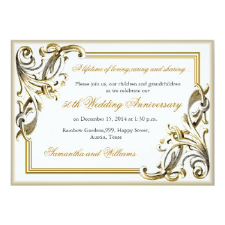 Elegant Golden Wedding Anniversary Invitations