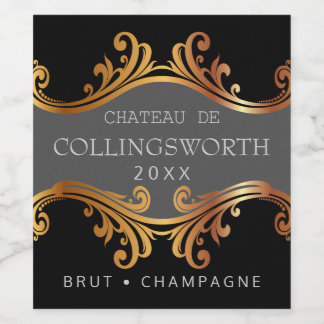 Elegant Golden Wedding Champagne Bottle Label Or