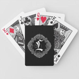Elegant Goth Initial L Bicycle Poker Deck