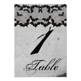 Elegant Gothic Bat Lace Posh Wedding Table Number