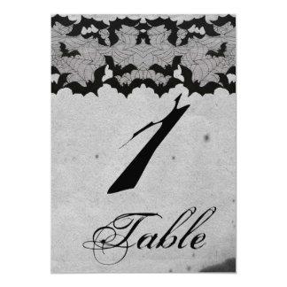 Elegant Gothic Bat Lace Posh Wedding Table Number 13 Cm X 18 Cm Invitation Card