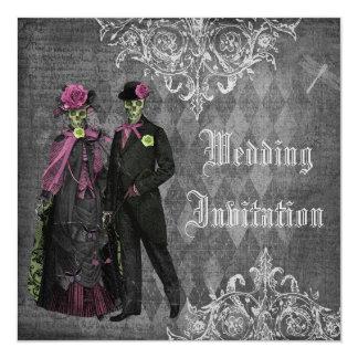 Elegant Gothic Bride & Groom Skeletons Wedding 13 Cm X 13 Cm Square Invitation Card