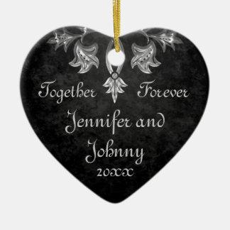 Elegant gothic dark romance together forever heart christmas ornament