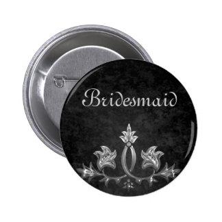 Elegant gothic dark romance wedding Bridesmaid 6 Cm Round Badge