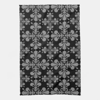 Elegant gothic fleur de lis damask black and gray tea towel
