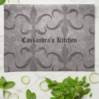 Elegant gothic gray design personalized tea towel