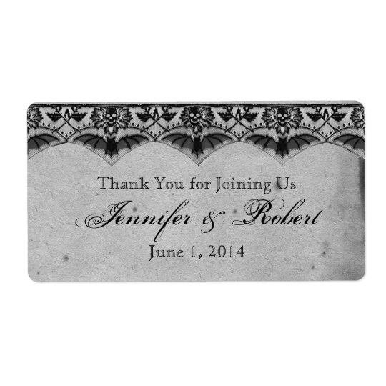 Elegant Gothic Lace Posh Water Bottle Label Shipping Label