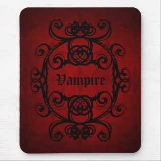 Elegant gothic vampire damask red and black decor mouse mat