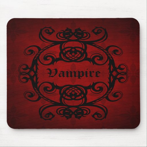Elegant gothic vampire damask red and black decor mouse pads