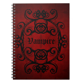 Elegant gothic vampire damask red and black spiral notebook