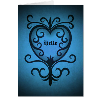 Elegant gothic victorian heart in blue Hello Card
