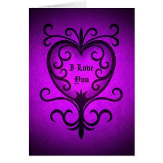 Elegant gothic victorian heart in purple greeting card