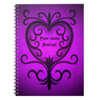 Elegant gothic victorian heart in purple notebooks