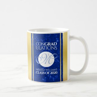 Elegant Graduation Monogram Blue Marble Gold Foil Coffee Mug
