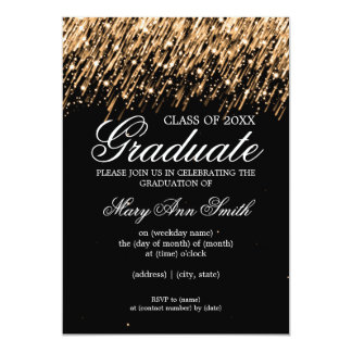 Elegant Graduation Party Falling Stars Gold Card