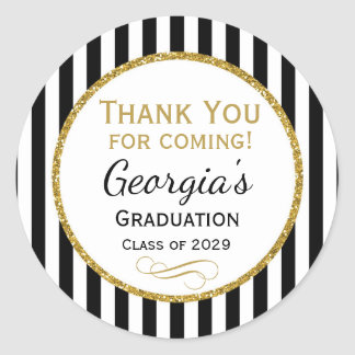Elegant Graduation Party Favor Tags Black Gold Round Sticker