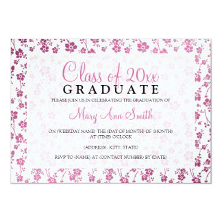 Elegant Graduation Party Floral Pattern Pink Card