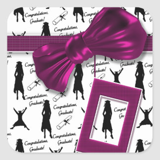 Elegant graduation party for women - customizable square sticker