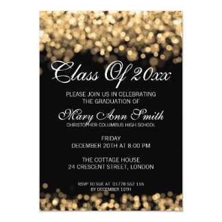 Elegant Graduation Party Gold Lights Card