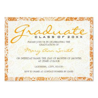 Elegant Graduation Party Paisley Orange Card